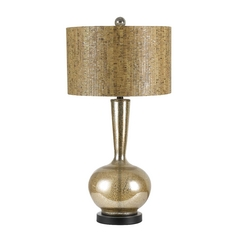 Table Lamp with Brown Cork Shade in Silver Finish