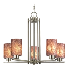 Modern Chandelier with Brown Glass in Satin Nickel Finish