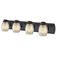 Industrial Mercury Glass 4-Light Bath Vanity Light in Bronze