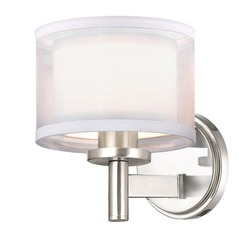 Double Organza Wall Sconce 1 Lt Satin Nickel