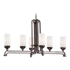 Island Light with White Glass in Industrial Bronze Finish