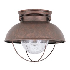 Sea Gull Lighting Sebring Weathered Copper LED Close To Ceiling Light