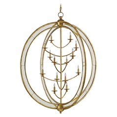 Currey and Company Aphrodite Gold Granello/antique Mirror Chandelier