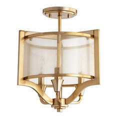 Quorum Lighting Highline Aged Brass Semi-Flushmount Light