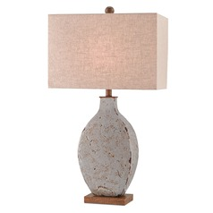 Currey and Company Bushcamp Rustic Gray/brushed Wood Table Lamp with Rectangle Shade