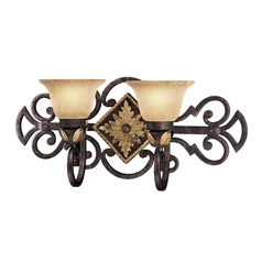Bathroom Light with Beige / Cream Glass in Golden Bronze Finish