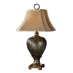Table Lamp with Brown Shade in Antique Silver Champagne Finish