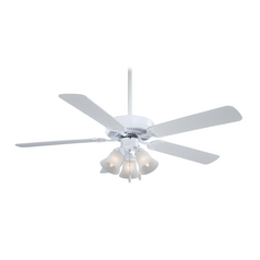 Ceiling Fan with Light with White Glass
