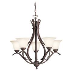 Kichler Chandelier with White Glass in Tannery Bronze Finish
