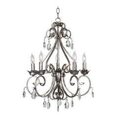 Kenroy Home Lighting Crystal Chandelier in Weathered Silver Finish 91345WS