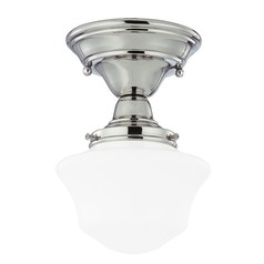 6-Inch Schoolhouse Ceiling Light in Polished Nickel Finish