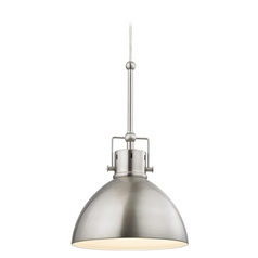Satin Nickel Dome Metal Pendant Light