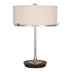 Mid-Century Modern Table Lamp Polished Nickel / Dark Walnut Edwin by Robert Abbey