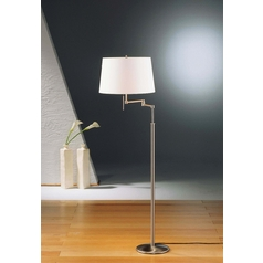 Holtkoetter Modern Swing Arm Lamp with White Shades in Satin Nickel Finish