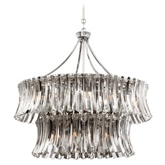 Elegance Royale Polished Nickel Pendant Light with Drum Shade