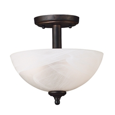 Kenroy Home Lighting Semi-Flushmount Light with Alabaster Glass in Bronze Finish 91384BRZ