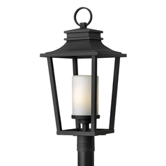 Post Light with White Glass in Black Finish