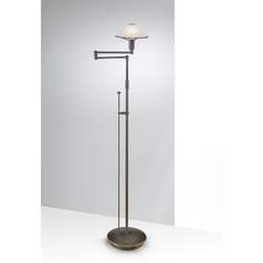 Holtkoetter Modern Swing Arm Lamp with Alabaster Glass in Hand-Brushed Old Bronze Finish