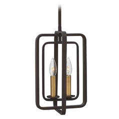 Hinkley Quentin 2-Light Chandelier in Buckeye Bronze