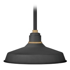 Hinkley Lighting Foundry Textured Black / Brass Barn Light with Warehouse Shade