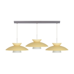 Besa Lighting Modern Multi-Light Pendant Light with Yellow Glass and 3-Lights 3JV-451397-SN