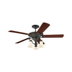 Ceiling Fan with Light with Beige / Cream Glass in Blacksmith Finish