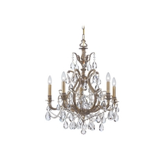 Crystal Chandelier in Antique Brass Finish