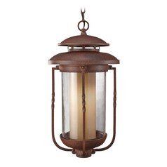 Outdoor Hanging Light with Beige / Cream Glass in Cinnamon Finish