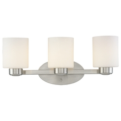 Three-Light Bathroom Light Satin Nickel 19.25-Inch Wide