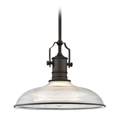 Bronze Industrial Pendant Light Prismatic Glass 14.38-Inch Wide