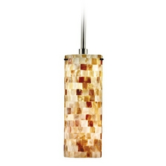 Hart Lighting Visaya Shell Satin Nickel / Bronze Mini-Pendant Light with Cylindrical Shade