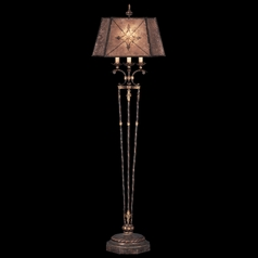 Fine Art Lamps Villa 1919 Umber with Gilded Accents Floor Lamp with Hexagon Shade