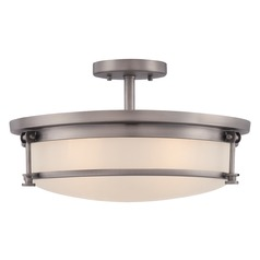 Quoizel Sailor Antique Nickel Semi-Flushmount Light