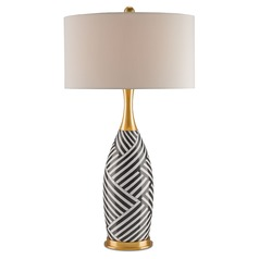 Currey and Company Hester Gold/black and White Stripes/satin Brass Table Lamp with Drum Shade