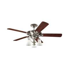 Ceiling Fan with Light in Antique Brushed Nickel Finish