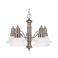 Chandelier with Alabaster Glass in Brushed Nickel Finish