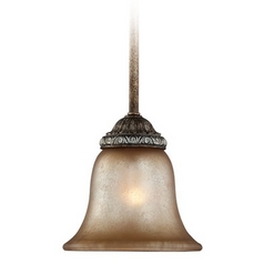 Mini-Pendant Light with Aged Amber Glass