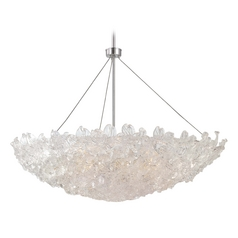 Modern Pendant Light with Clear Glass in Chrome Finish