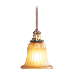 Livex Lighting Villa Verona Bronze with Aged Gold Leaf Accents Mini-Pendant Light with Bell Shade
