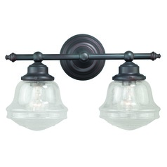 Seeded Glass Bathroom Light Oil Rubbed Bronze Vaxcel Lighting