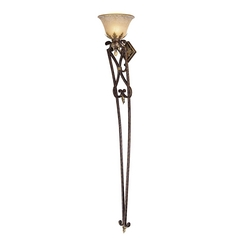 Sconce Wall Light with Beige / Cream Glass in Golden Bronze Finish