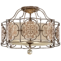 Semi-Flushmount Light with White Glass in British Bronze / Oxidized Bronze Finish