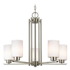 Modern Chandelier with White Glass in Satin Nickel Finish