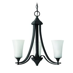 Hinkley 3-Light Chandelier with White Glass in Textured Black
