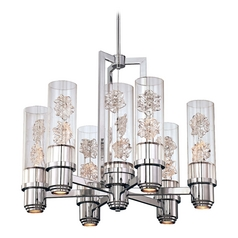 Modern Chandelier with Clear Glass in Chrome Finish
