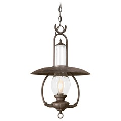Troy Lighting Outdoor Hanging Light with Clear Glass in Old Bronze Finish FCD9013OBZ