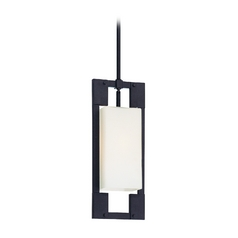 Modern Outdoor Hanging Light with White Glass in Forged Iron Finish