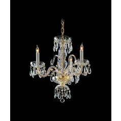 Crystal Mini-Chandelier in Polished Brass Finish