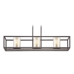 Industrial 3-Light Linear Chandelier with Mercury Glass in Bronze