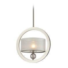 Modern Drum Pendant Light with Silver Shade in Polished Nickel Finish